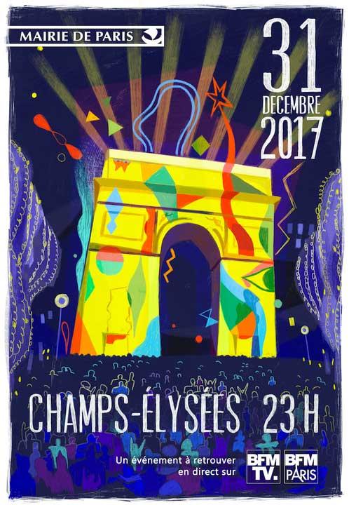 Silvester 2017/18 in Paris Champs Elysées …